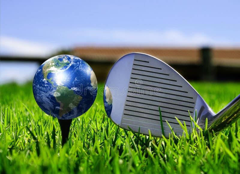 Earth - like a golf ball stock photography