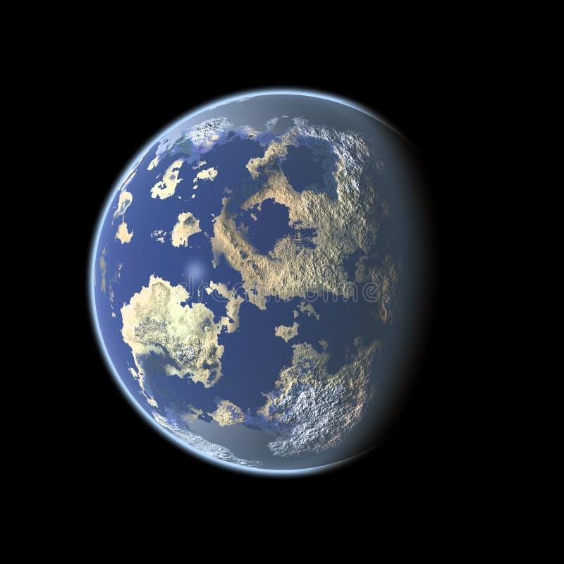 Earth-like Planet auf schwarzem Hintergrund lizenzfreie abbildung