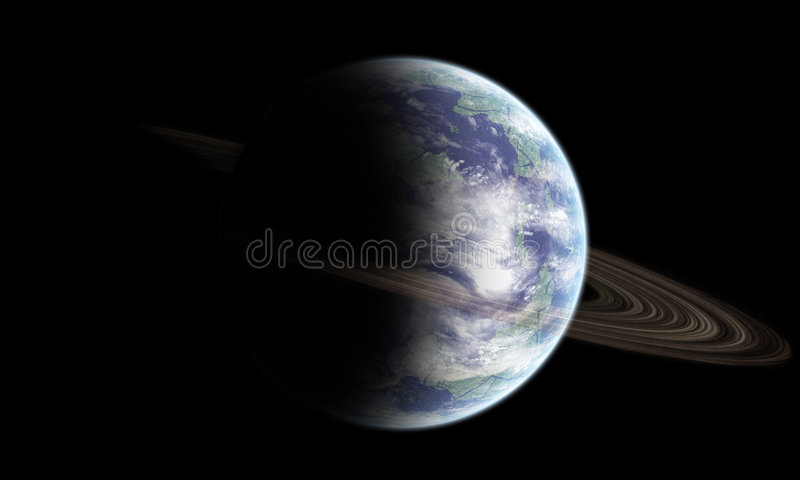 Earth like planet with rings stock images