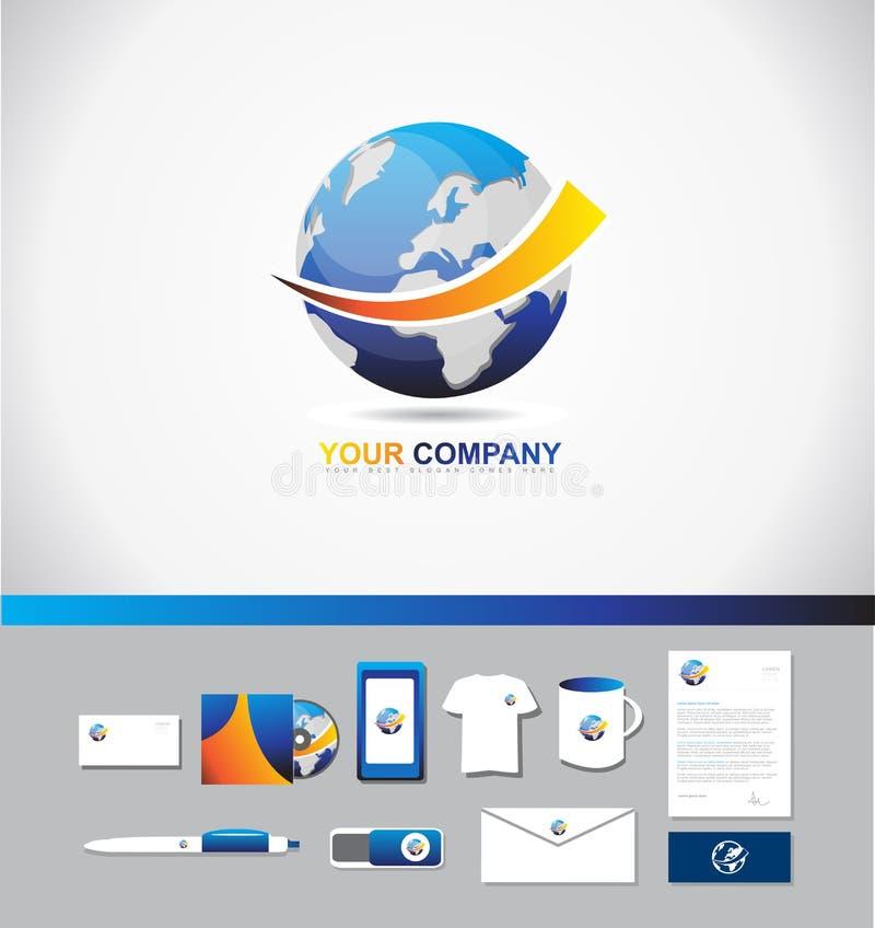 Earth logo icon 3d symbol stock illustration