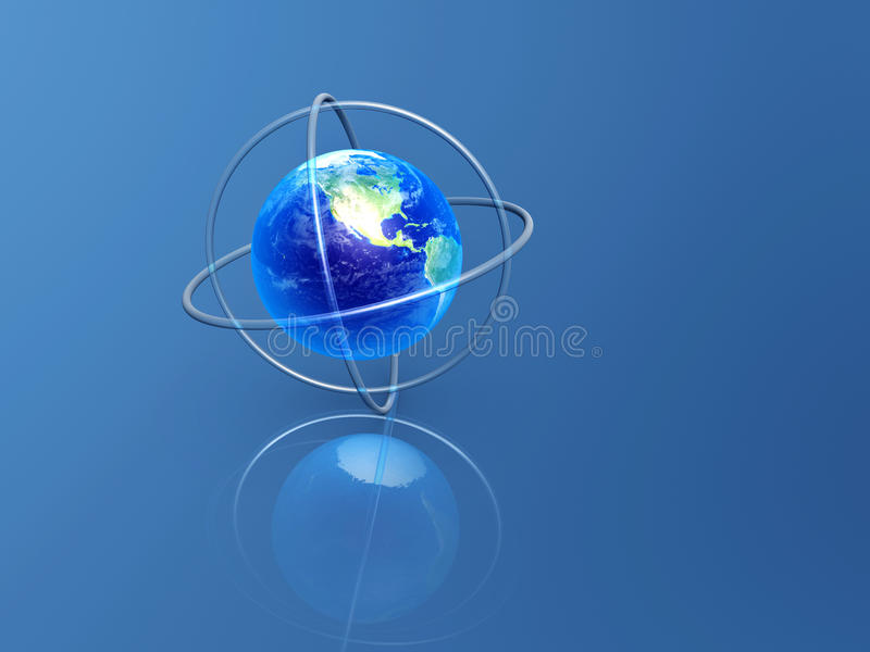 Earth with longitude and latitude rings. On blue background royalty free illustration