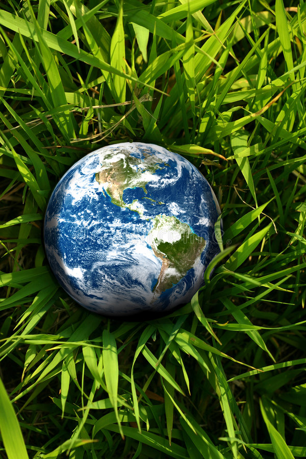 Earth lost in grass. Earth globe laying in the grass