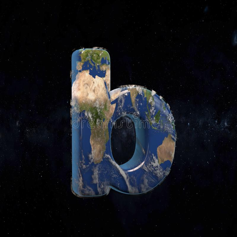 Earth lowercase letter B isolated on dark space background stock illustration