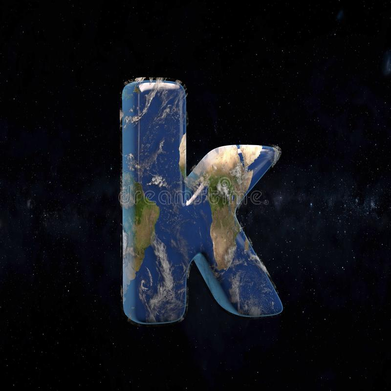 Earth lowercase letter K isolated on dark space background royalty free illustration