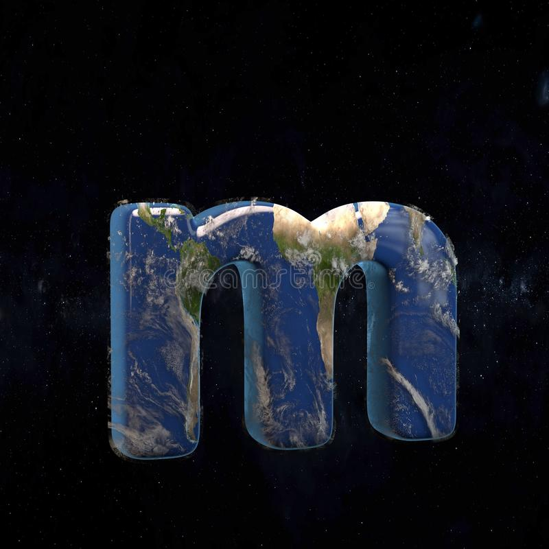 Earth lowercase letter M isolated on dark space background vector illustration