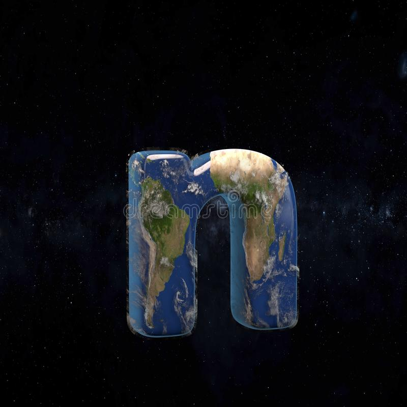 Earth lowercase letter N isolated on dark space background stock illustration