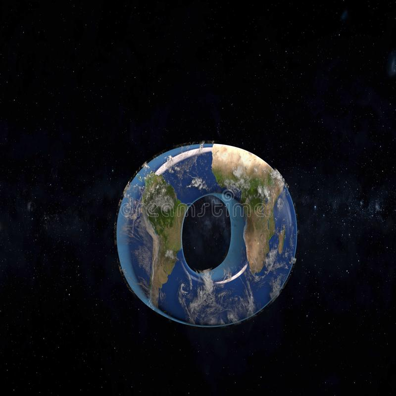 Earth lowercase letter O isolated on dark space background royalty free illustration