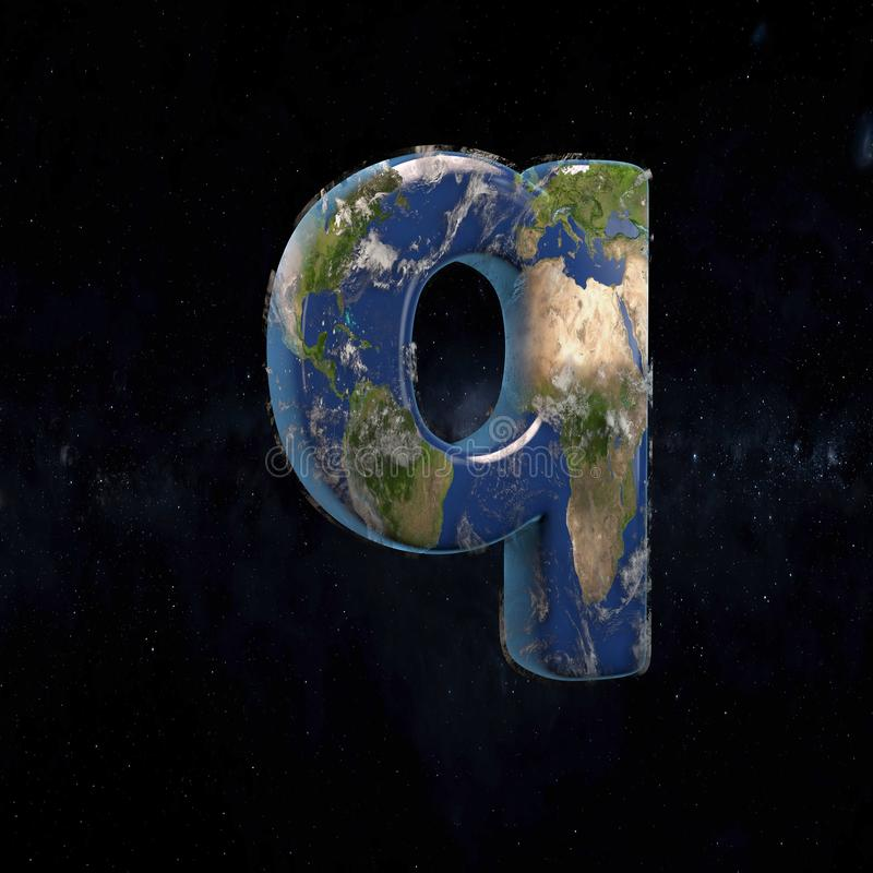 Earth lowercase letter Q isolated on dark space background vector illustration