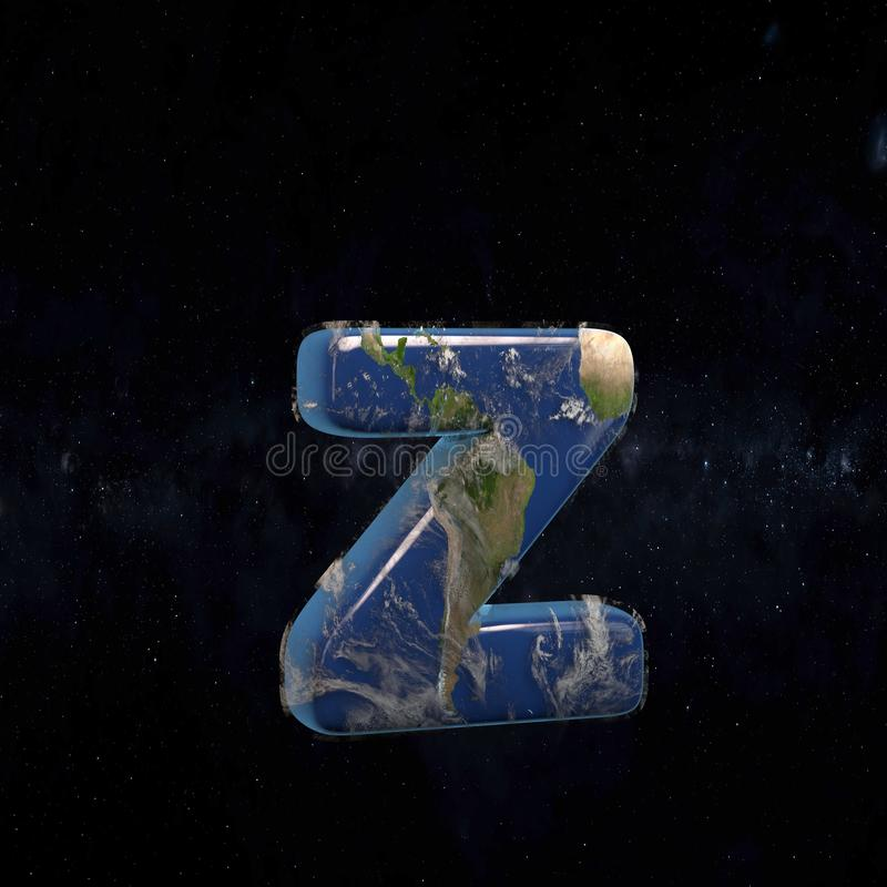 Earth lowercase letter Z isolated on dark space background stock illustration