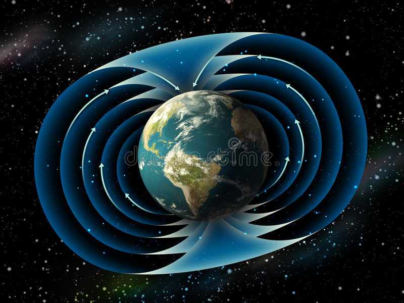 Earth magnetic field. Magnetic field surrounding planet earth. Digital illustration stock illustration