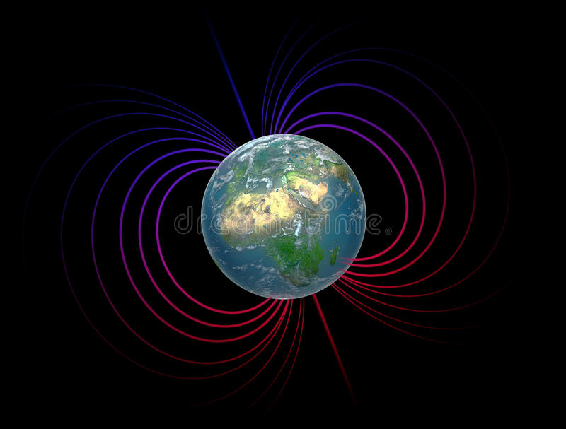 Earth with the magnetosphere. Earth with its magnetosphere - scientific illustration royalty free illustration
