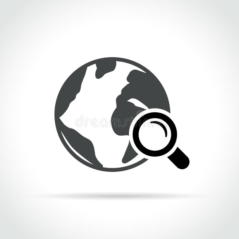 Earth and magnifying glass icon vector illustration