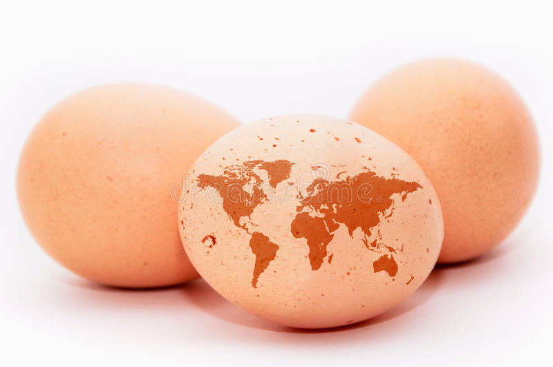 Earth map. An egg with a shape of an detailed earth map royalty free stock image