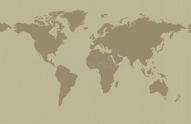 Earth map on khaki background. With grid and all major earth continents - Eurasia, North and South America, Africa, Australia vector illustration
