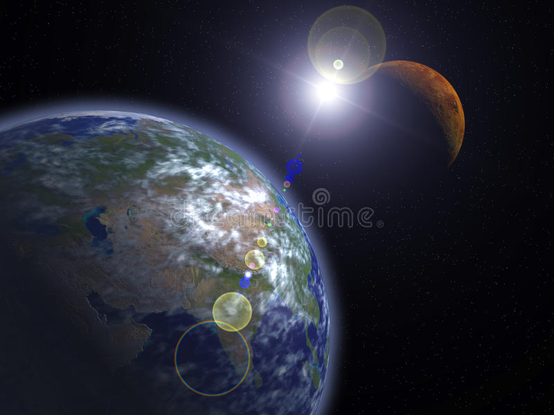 The Earth and Mars vector illustration
