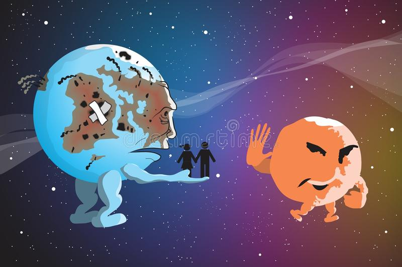 Earth and Mars vector illustration