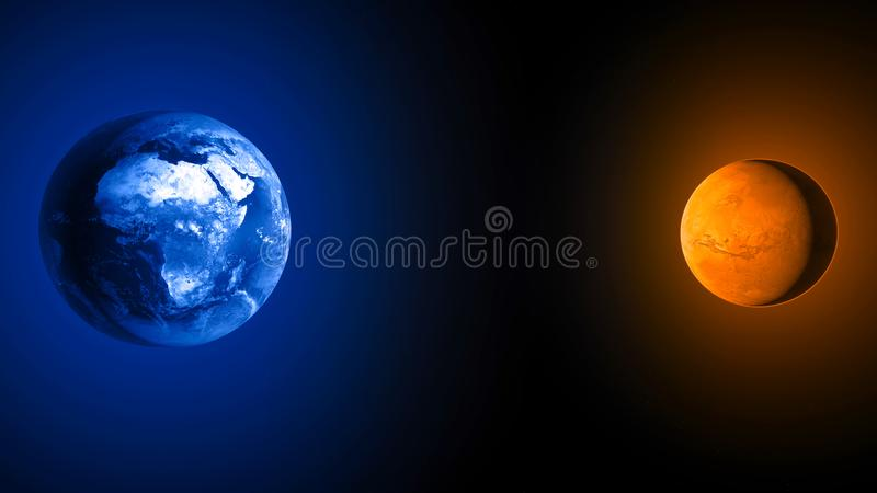Earth and Mars, space missions, conquests new planets. Explorations. Journey to Mars the stages royalty free illustration