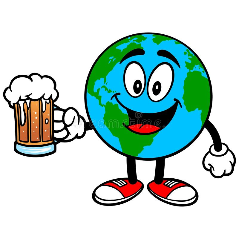 Earth Mascot with Beer. Vector illustration of a Earth Mascot with a Beer vector illustration