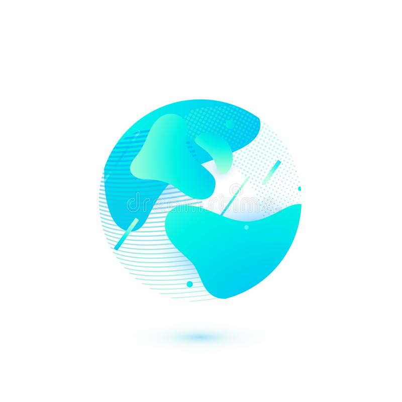 Earth modern globe vector illustration. Simple circle form with abstract blue shapes in trendy flat style royalty free illustration