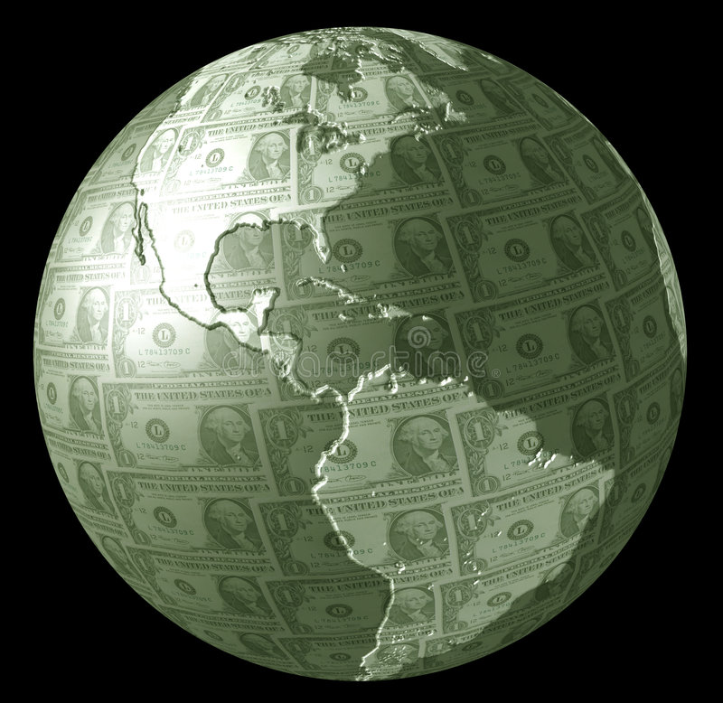 Earth Money. Planet Earth made from US dollar bills