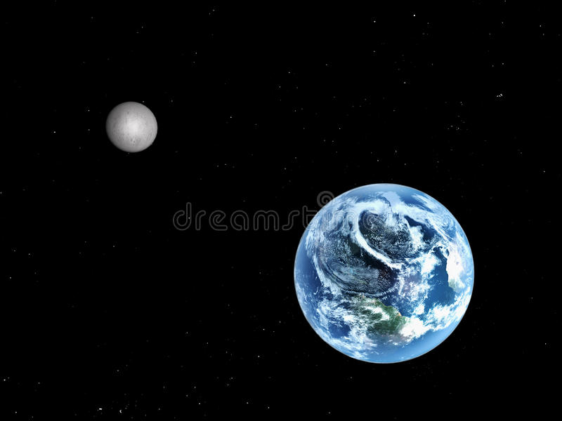 Download Earth and moon stock illustration. Illustration of orbiting - 14220430