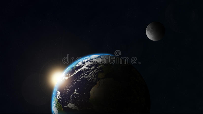 Download Earth and moon stock illustration. Illustration of away - 19888591