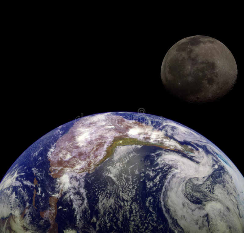 Earth & Moon. From outer space royalty free illustration