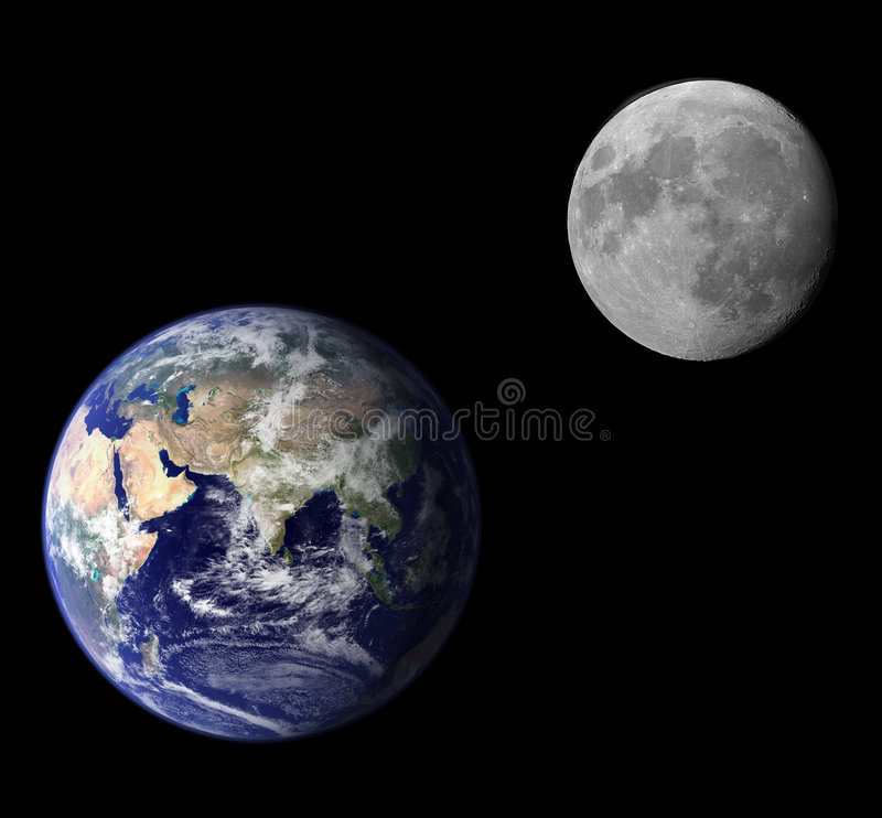 Earth and moon vector illustration
