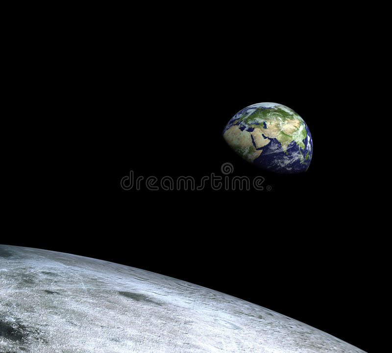 Earth from the moon royalty free illustration