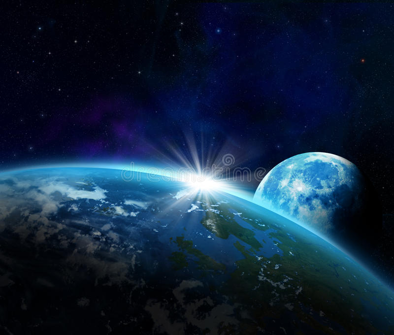 Earth and moon as seen from space. And bright glare from the sun royalty free illustration