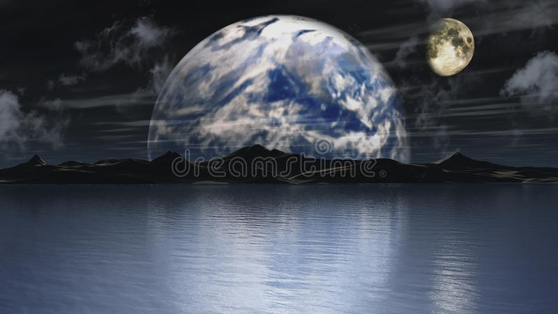 Earth and moon background stock illustration