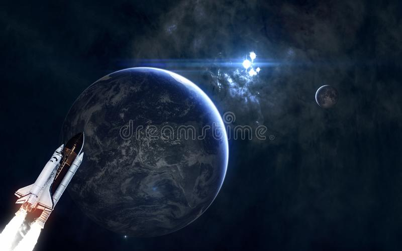 Earth and the Moon on background of star cluster. Solar system. Science fiction. Elements of this image furnished by NASA stock image