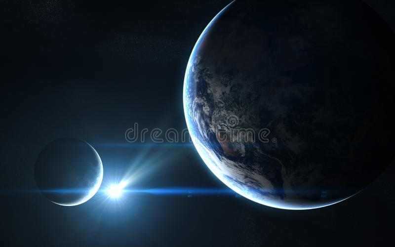 Earth and moon in blue sunlight. Abstract science fiction. Elements of the image are furnished by NASA. Earth and moon in blue sunlight. Abstract science fiction royalty free stock photos