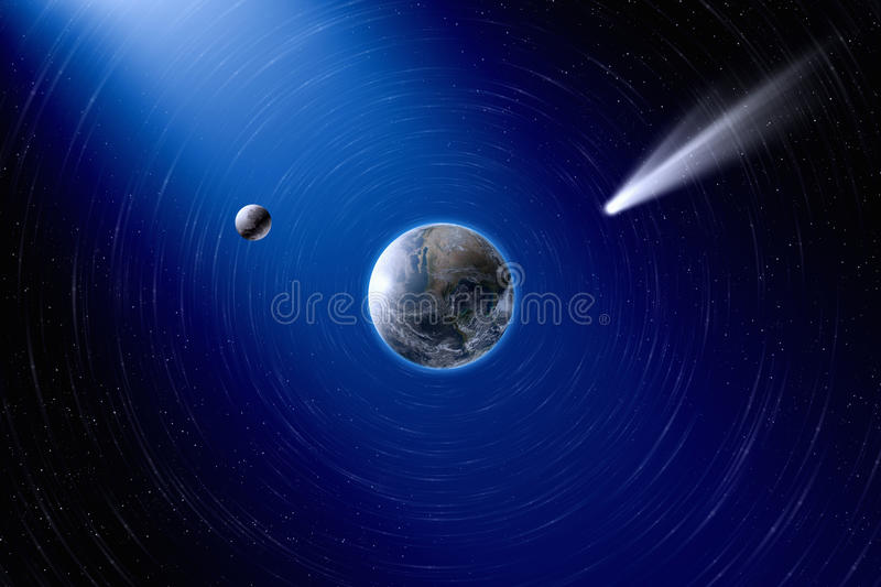 Earth, moon and comet stock image
