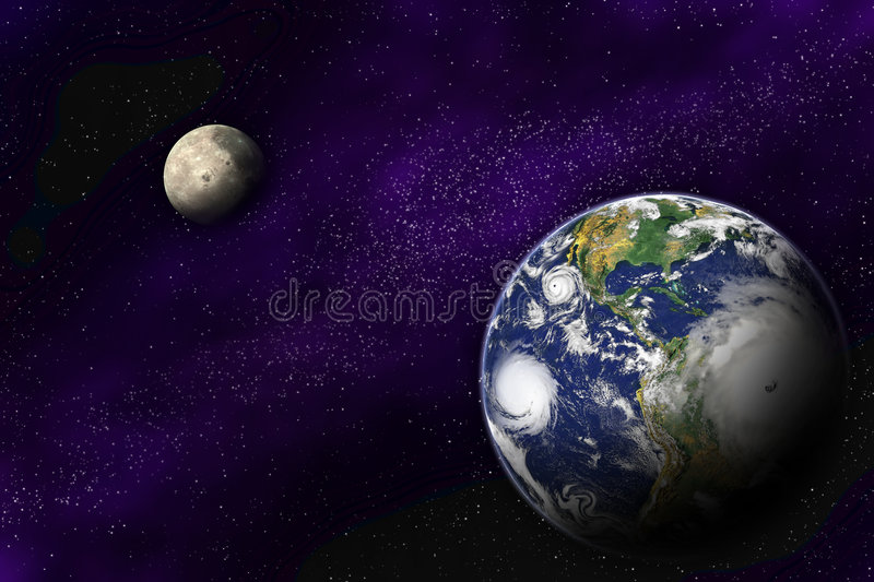 Download Earth And Moon In The Deep Universe Stock Illustration - Image: 5953216