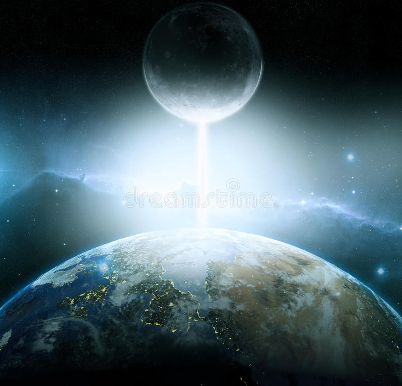 Earth and moon fantasy. Armageddon royalty free stock photography