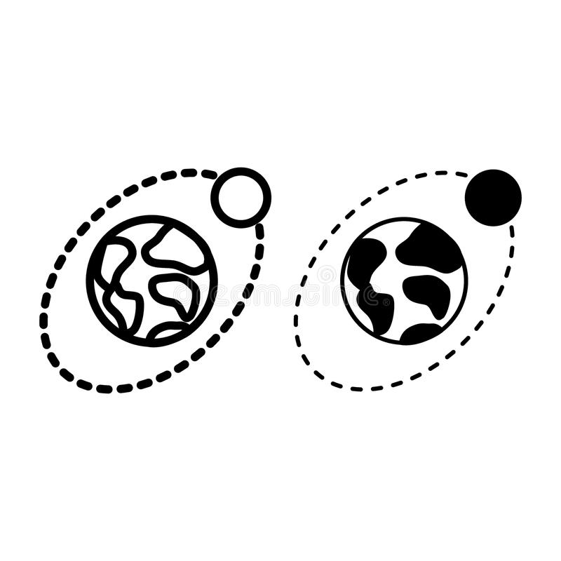 Earth and moon line and glyph icon. Planet and satellite vector illustration isolated on white. Space outline style stock illustration