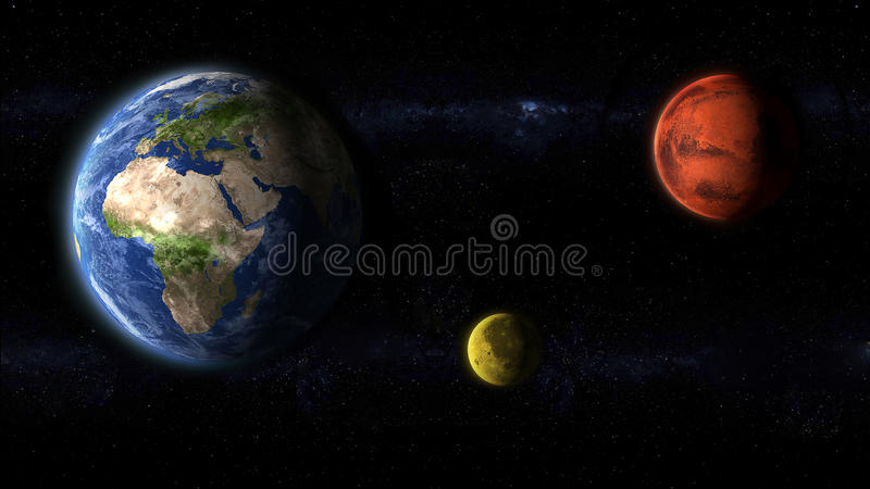 Earth Moon and Mars planets artwork royalty free illustration