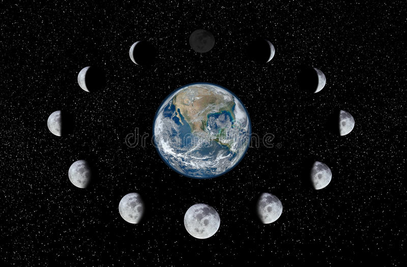 Earth and Moon phases royalty free illustration
