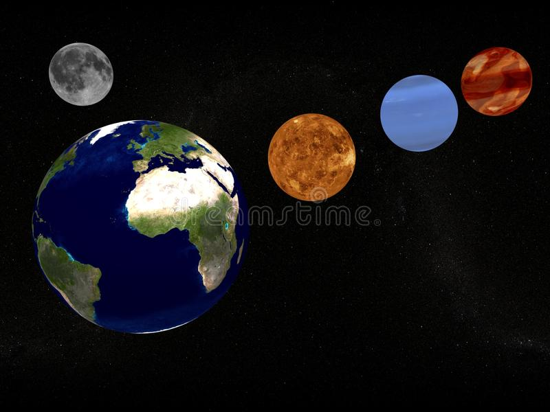 Download Earth, moon and planets stock illustration. Image of astronomically - 12359849