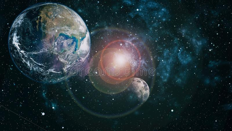 The Earth and Moon from space . Extremely detailed image including elements furnished by NASA. royalty free illustration