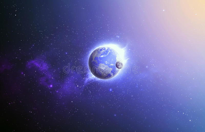 Earth and moon in space. royalty free stock image