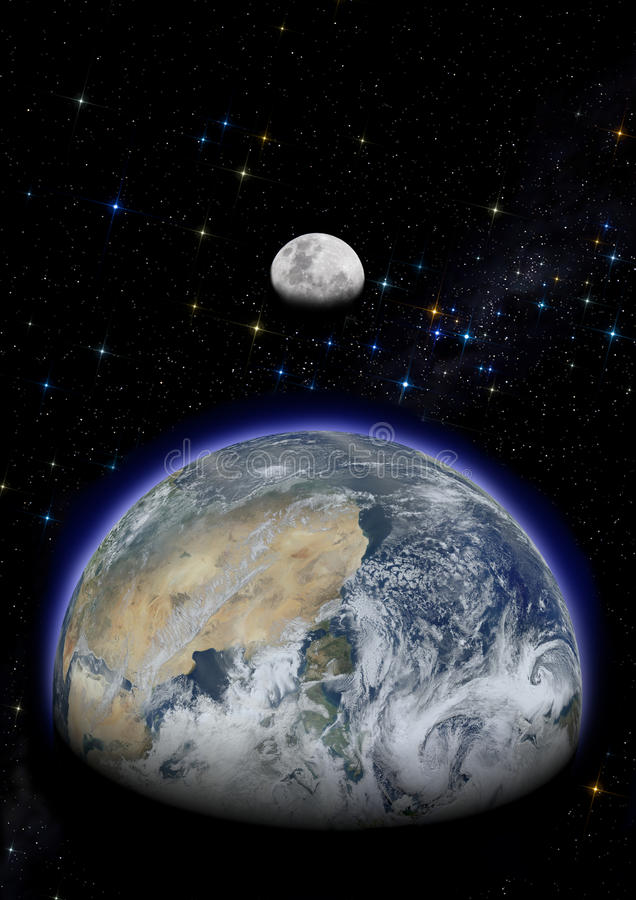 Earth and moon in starry sky. stock photos