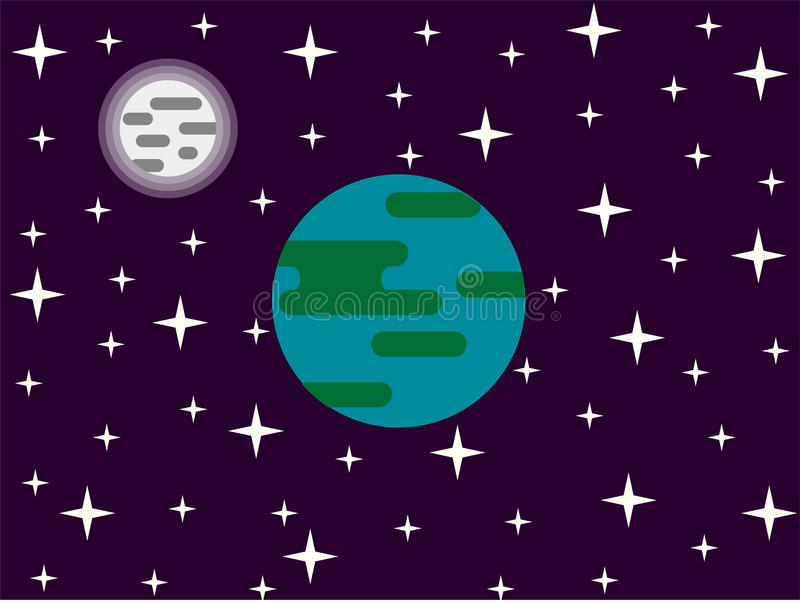 Earth Moon and Stars in Space Flat Design vector illustration
