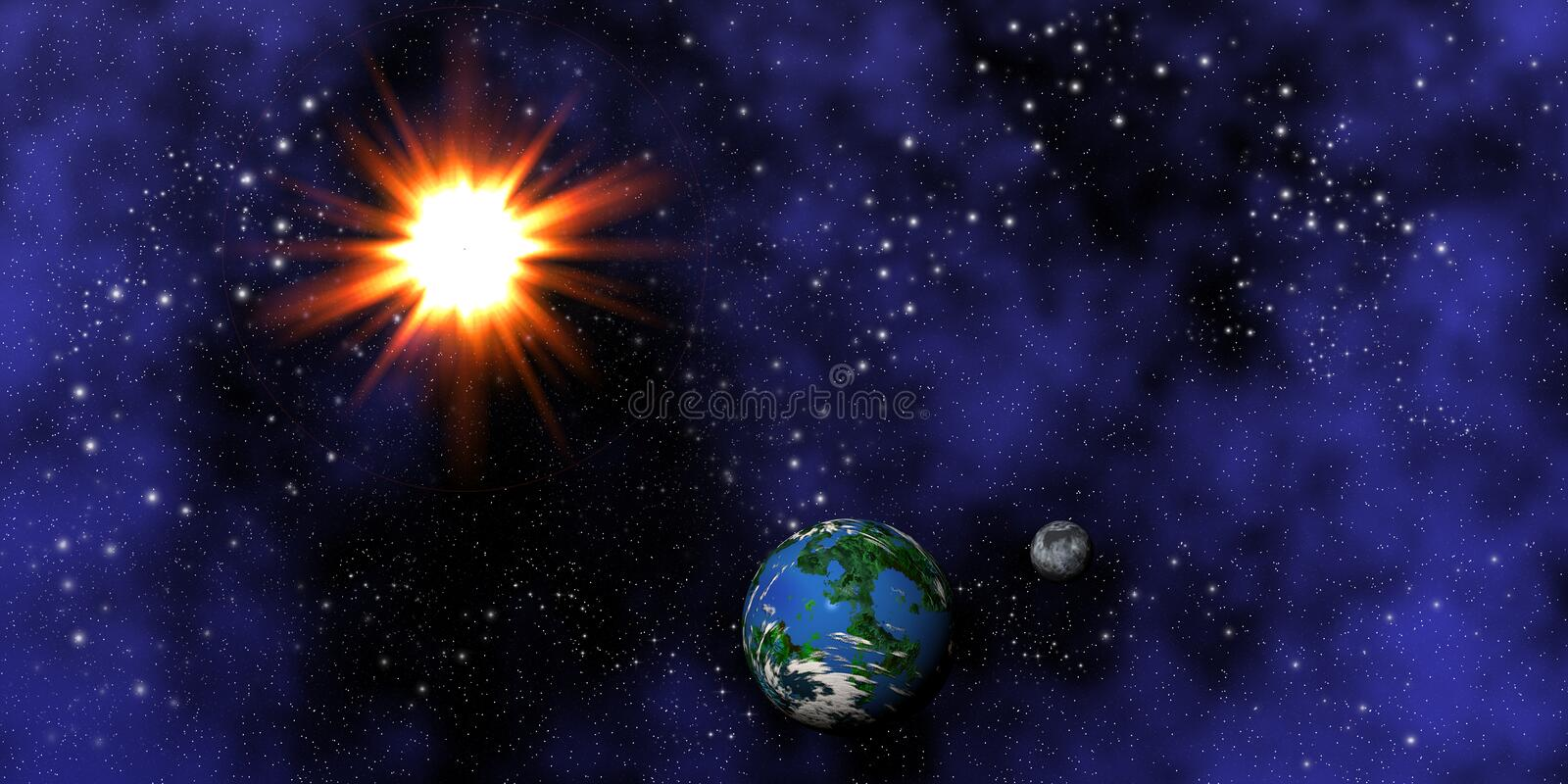 Download Earth, moon and sun stock illustration. Image of digital - 521075