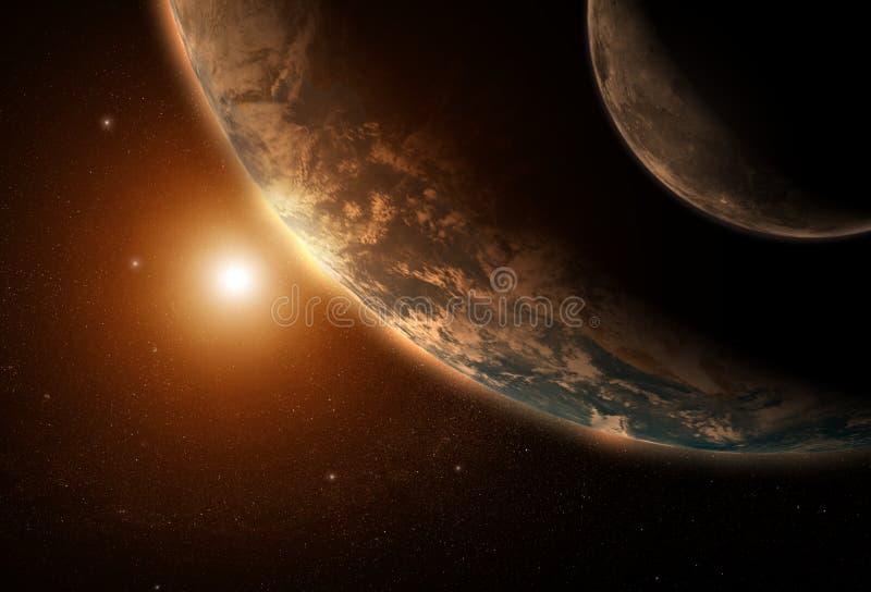 Earth Moon and Sun - morning stock illustration