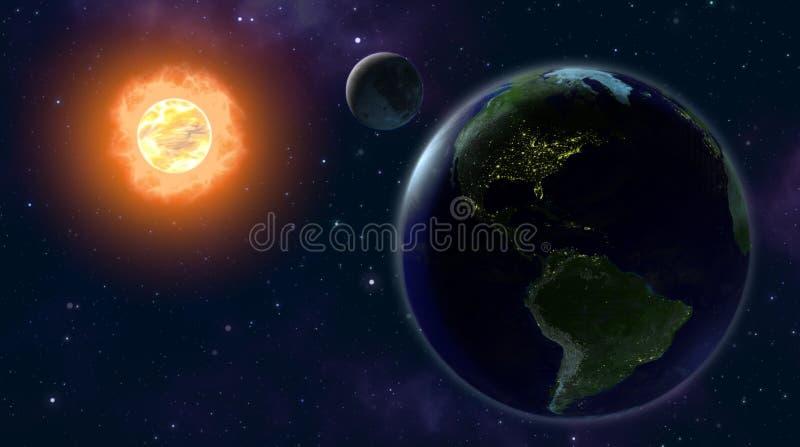 EARTH MOON SUN vector illustration