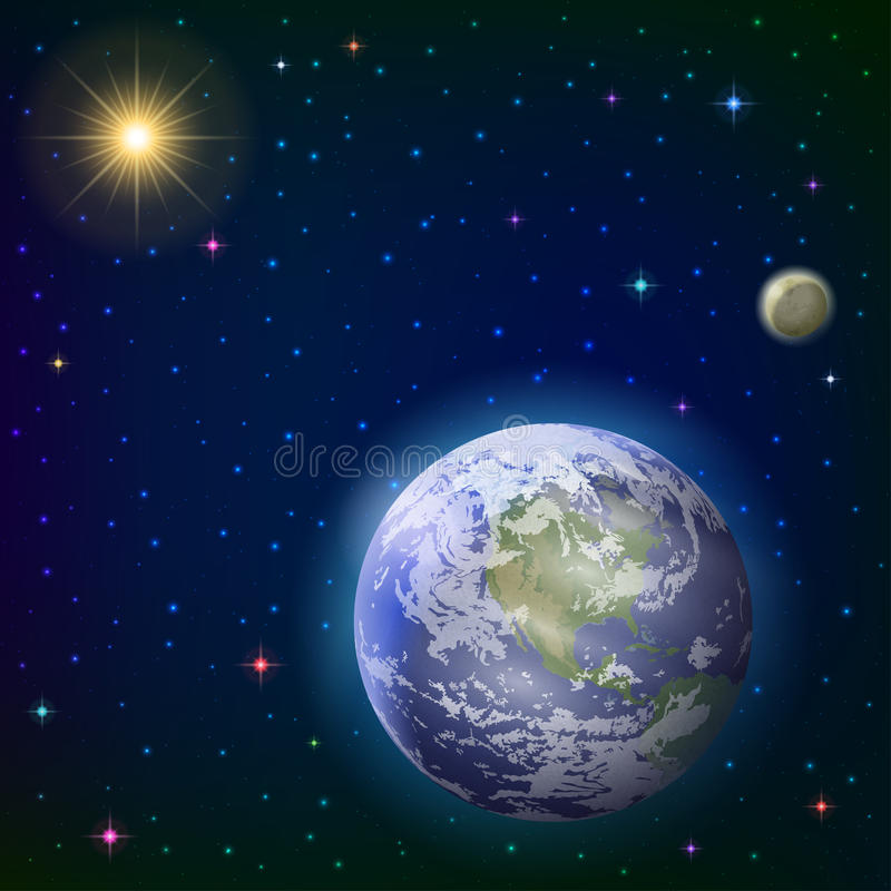Download Earth, moon and sun stock vector. Image of astronomy - 32000302