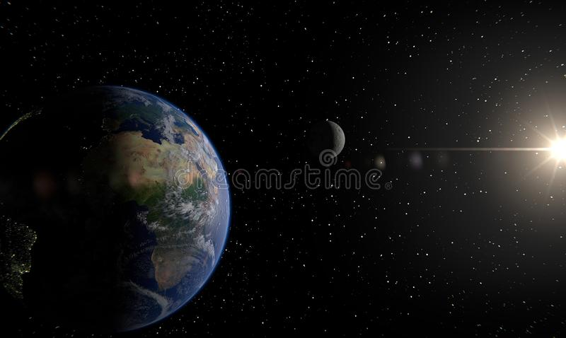 Earth, moon and sun royalty free illustration