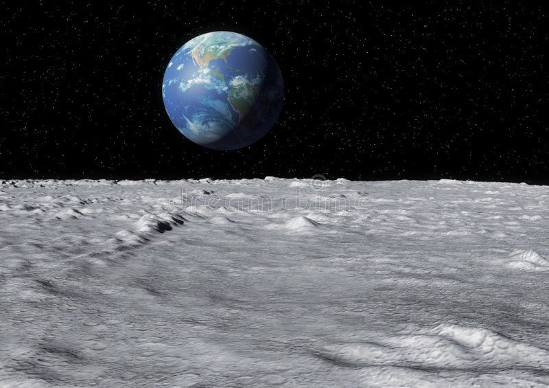 Earth moon surface stock illustration
